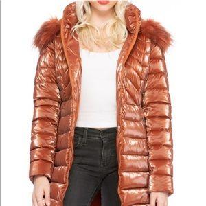 Shiny Copper Cloud Faux Fur Puffer Coat